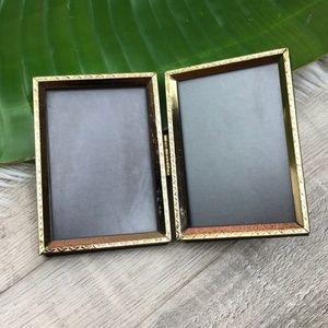 Vintage Gold Antique Hinged Double Picture Frame